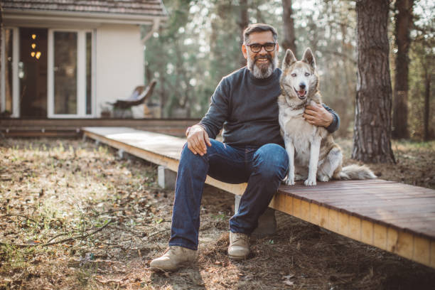 Never alone when you have dog stock photo