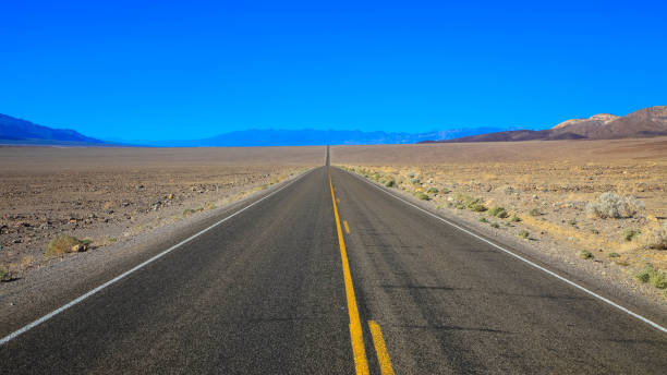 Never Ending Road to Death Valley National Park, California-USA stock photo
