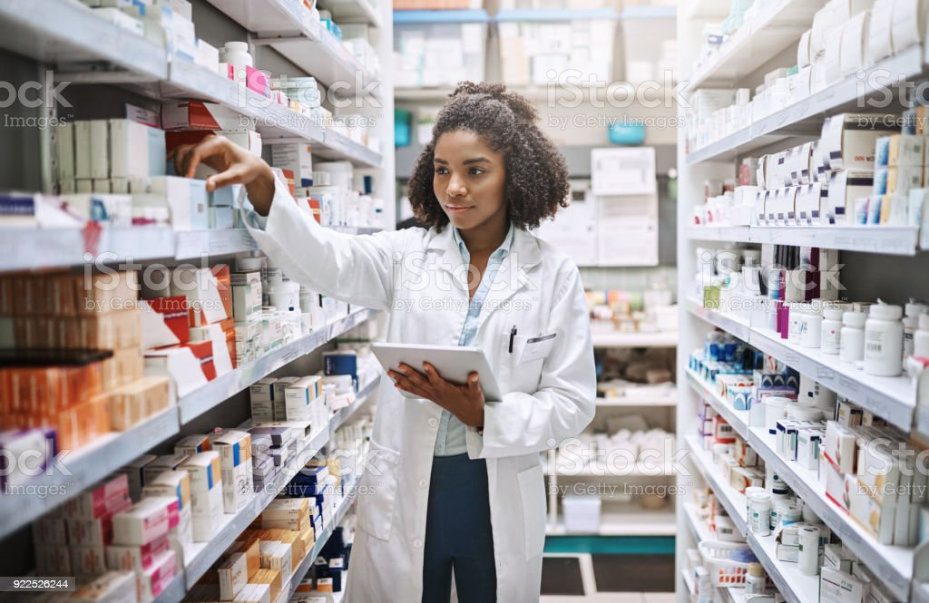Never fear, your pharmacist is here stock photo