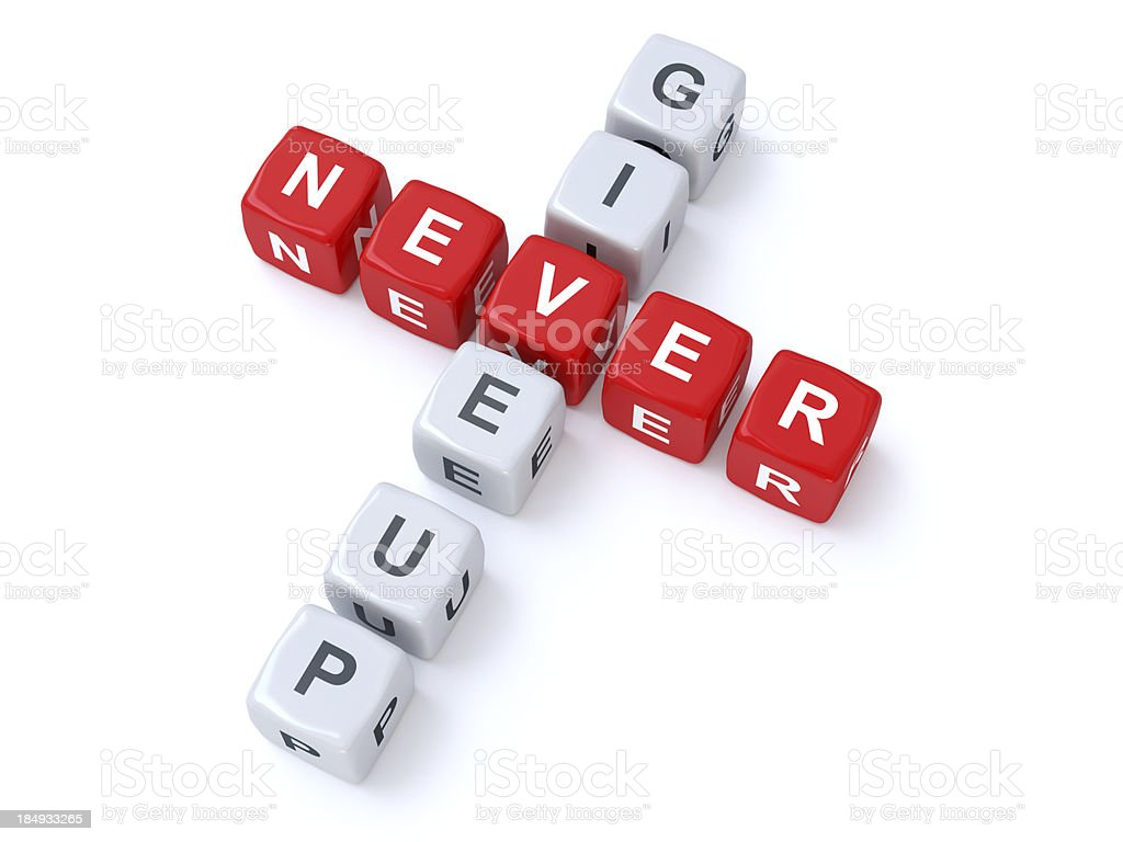 Never give up crosswords royalty-free stock photo