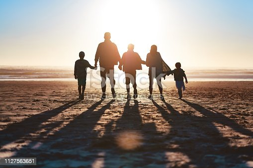 Rearview shot of a happy young family going for a walk together along the beach