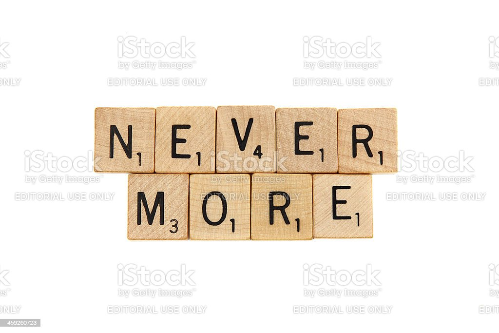 Never More in Scrabble letter tiles royalty-free stock photo