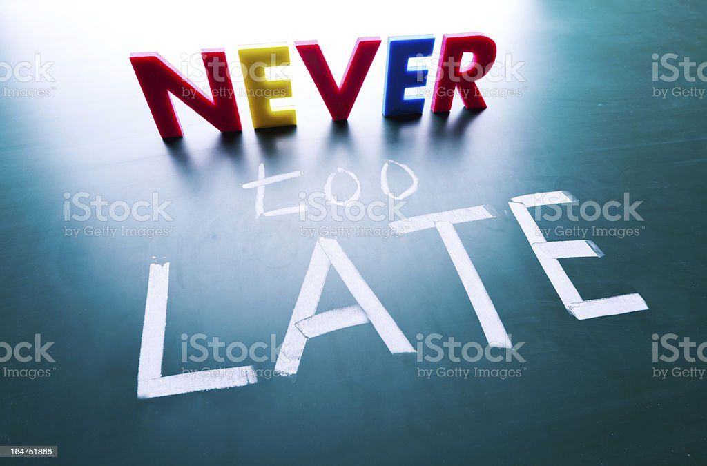 Never too late concept royalty-free stock photo