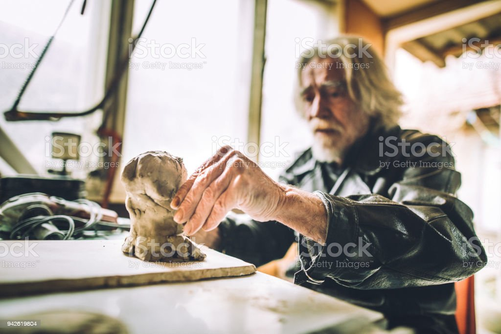 Never too old for art stock photo