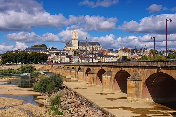 Nevers in Burgundy, cathedral and river Loire – Foto