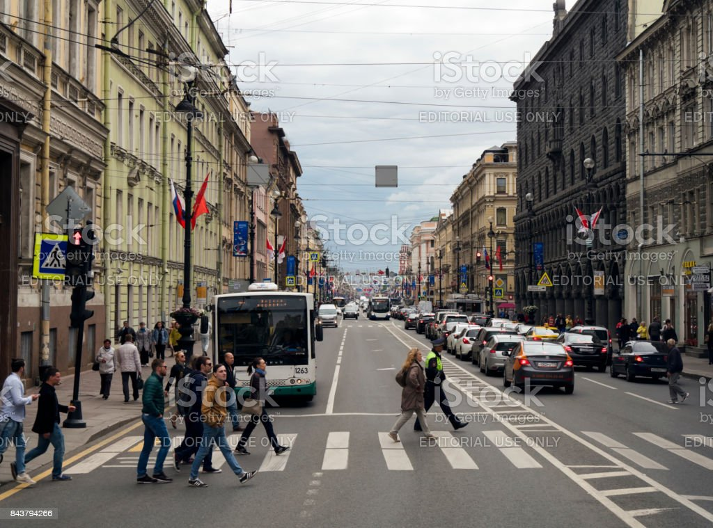 Nevsky Prospekt, St Petersburg, decorated with banners and flags stock photo