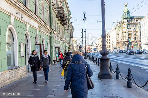 St.Peterburg. Russia- October 15th ‎2019: This Pic shows street view of Nevsky Prospect . Street with some people, vehicle can be seen in the pic in St. Petersburg russia