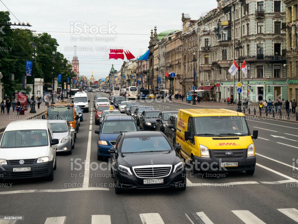 Nevsky Prospekt with Scarlet Sails and Confederations Cup banners, St Petersburg stock photo