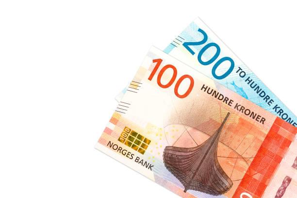neue 100 und 200 norwegische Kronen Banknote Avers – Foto
