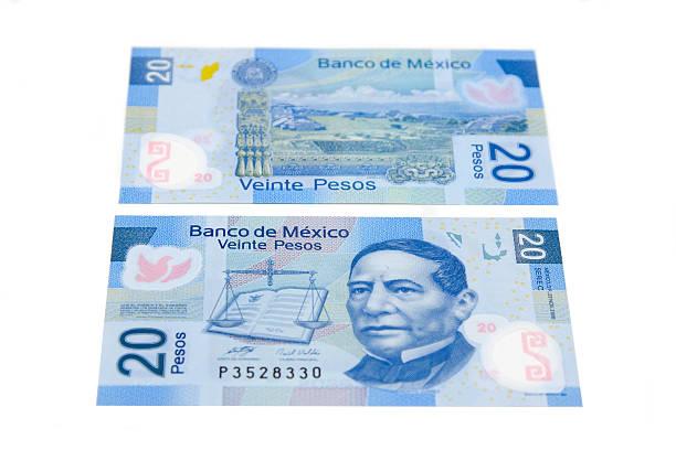 new 20 pesos bill stock photo