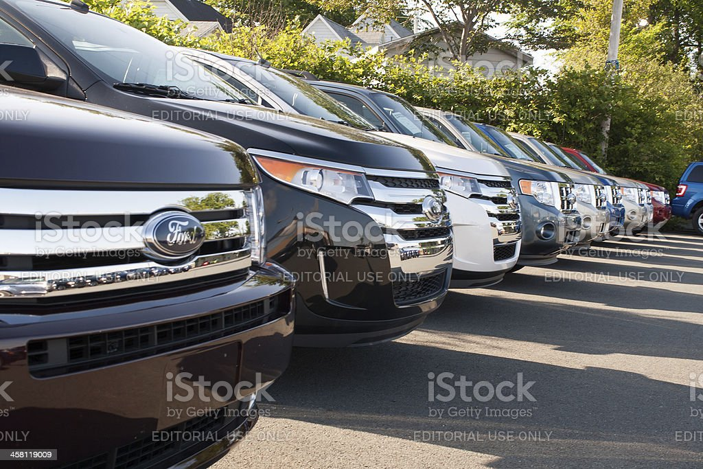 New 2011 Ford SUVs on Dealership Lot stock photo