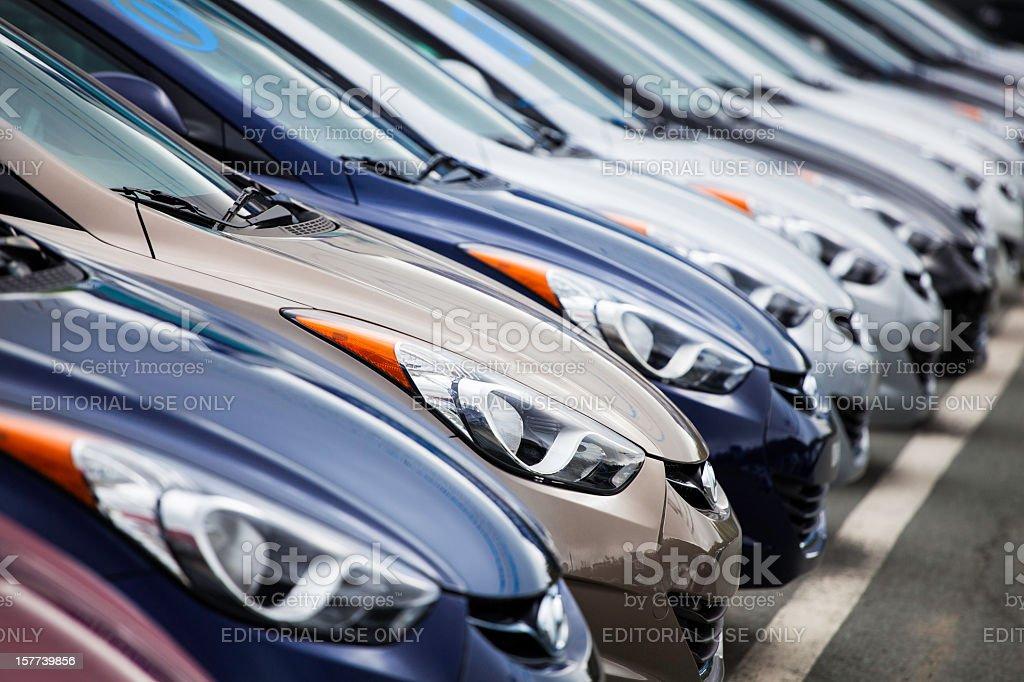 New 2013 Hyundai Elantra Vehicles in a Row royalty-free stock photo