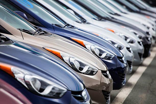 New 2013 Hyundai Elantra Vehicles in a Row stock photo