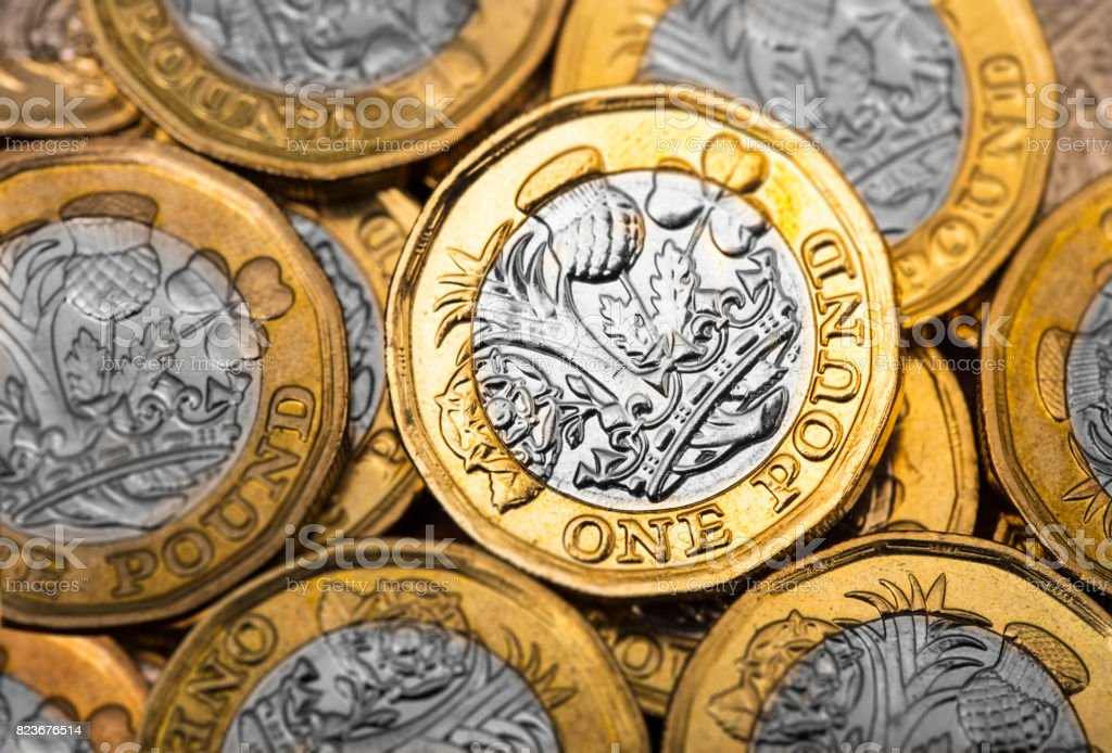 New 2017 UK One Pound Coin stock photo