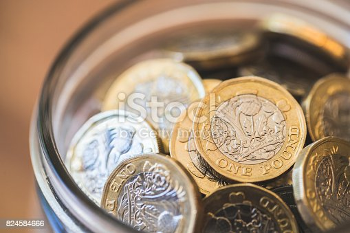 A stock photo of the 2017 New UK One Pound Coin. Photographed using the Canon EOS 1DX mark II and Canon 100mm f2.8 IS L lens.