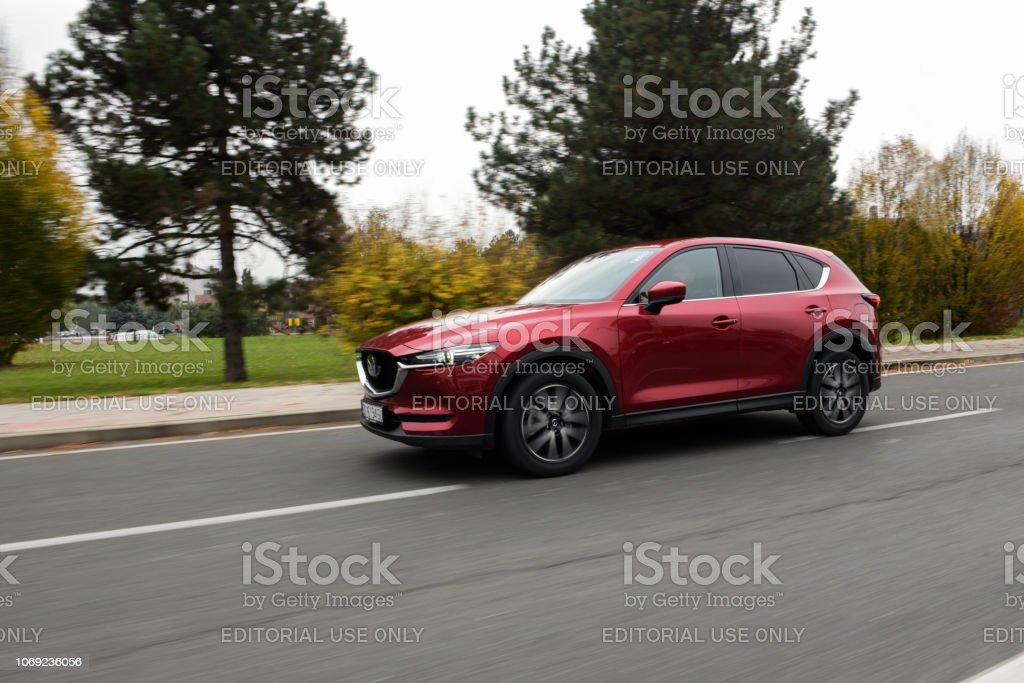 New 2018 Mazda CX-5. Red CX-5 SUV car. Japanese car. Luxury...