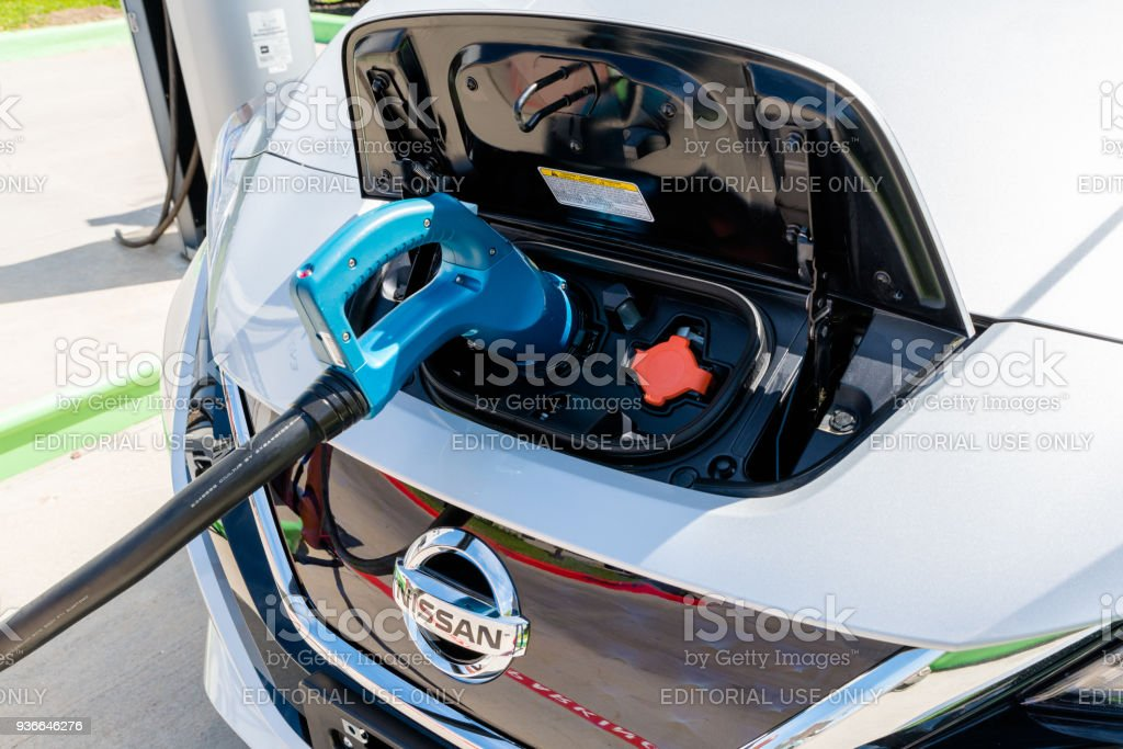 New 2018 Nissan Leaf Electric Car Plugged In To Charge
