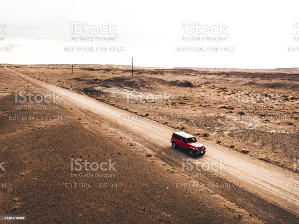 Aerial view photo of a Jeep Wrangler Sahara 2019 edition running on...