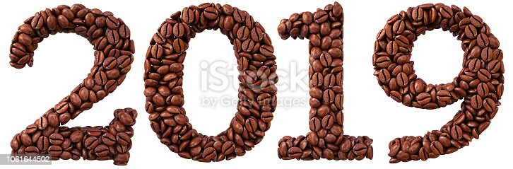 istock new 2019 year from coffee beans. isolated on white. 3D illustration. 1061644502