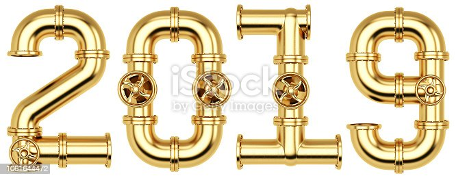istock new 2019 year from golden gas pipes. Isolated on white background. 3D illustration 1061644472