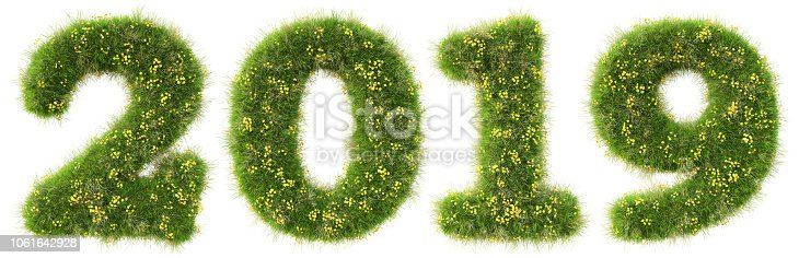 istock new 2019 year from the green grass. isolated on white. 3D illustration. 1061642928
