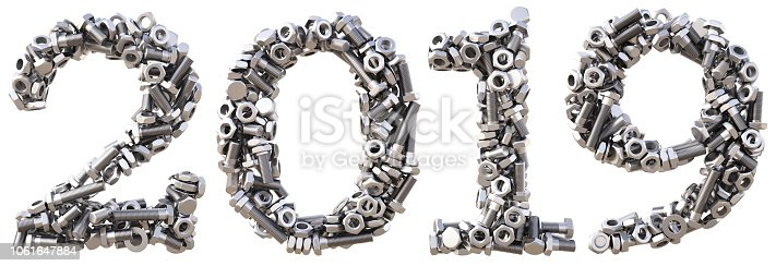 istock new 2019 year from the nuts and bolts. isolated on white. 3D illustration 1061647884