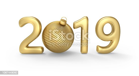 istock New 2019 year gold figures with Christmas ball instead of 0 figure 1067449092
