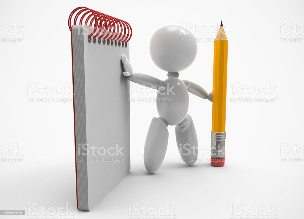 new 3D people - pencil and notebook stock photo