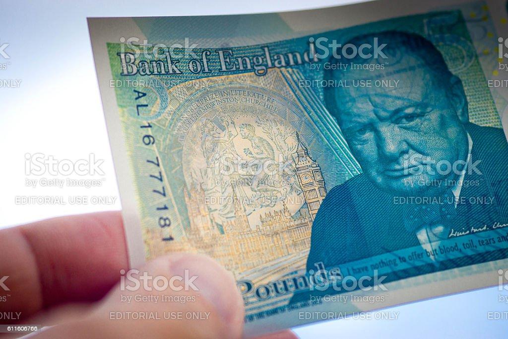 New 5 pound note stock photo