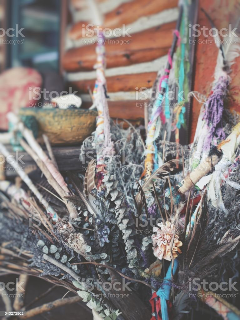 New Age Decor, Decorative Sticks, Ribbons, Dried Plants stock photo