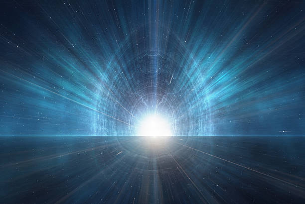 new age symbolic light glow emanating from the ether - teleport bildbanksfoton och bilder