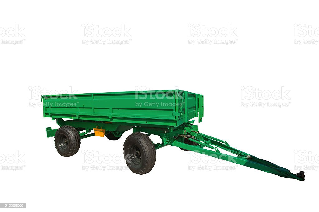 New agricultural trailer isolated on white background with clipp stock photo