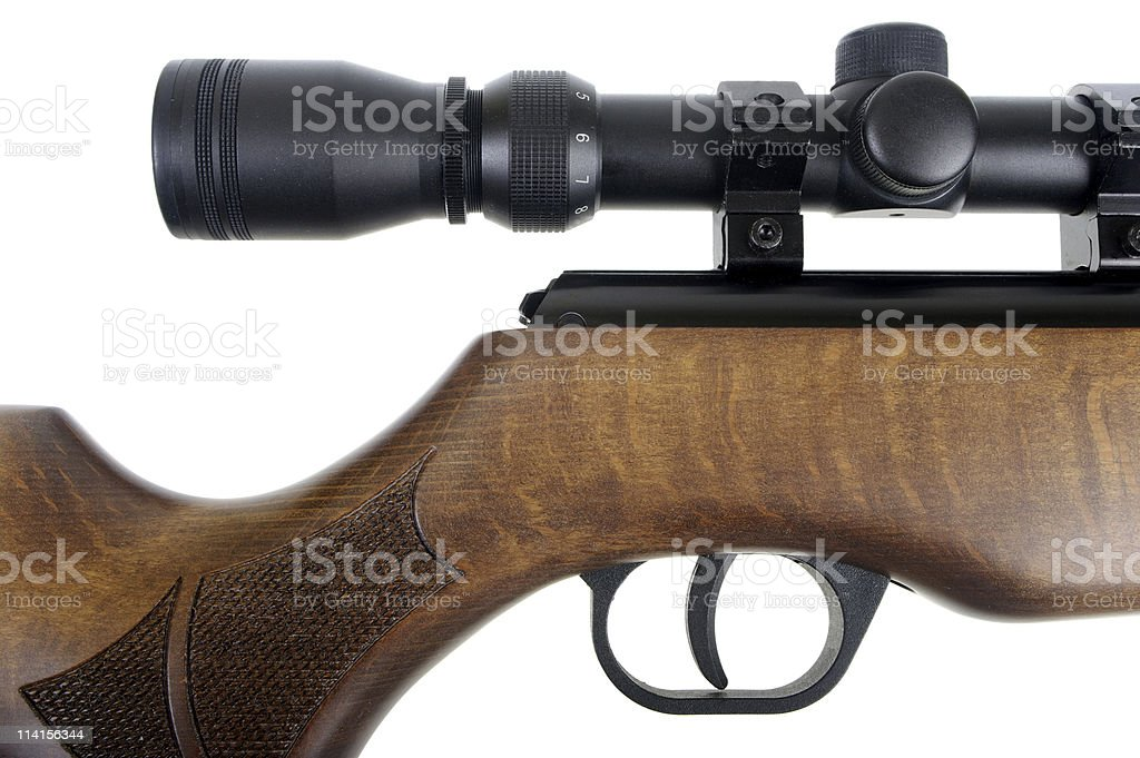 New Air Rifle Stock And Trigger Detail stock photo