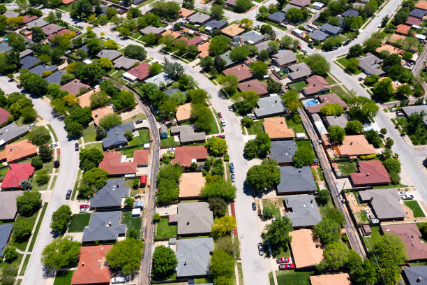 New American Houses from Above stock photo