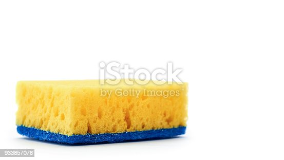 istock New and clean sponge for cleaning. Isolated on white background. copy space, template 933857076