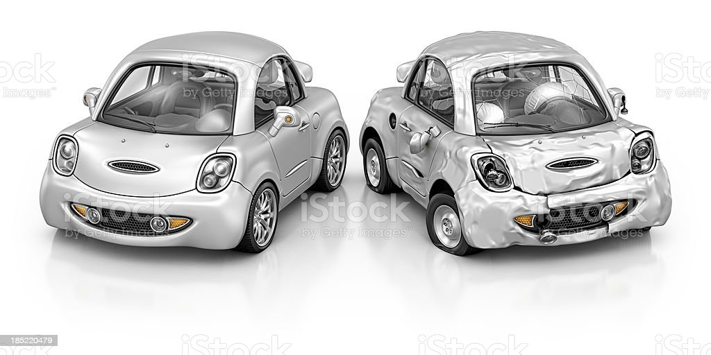 new and damage car royalty-free stock photo