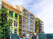 June 24, 2019 Mountain View / CA / USA - New and modern, multilevel apartment complexes are being built in Mountain View, San Francisco bay area, California