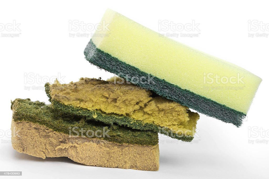 New and old dirty dish washing sponges royalty-free stock photo