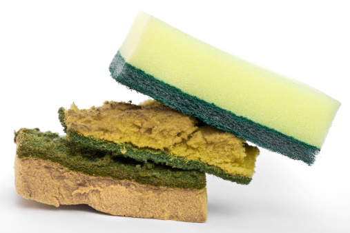 New And Old Dirty Dish Washing Sponges Stock Photo - Download Image Now
