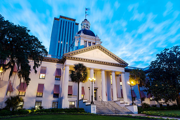 new and old florida state capitol buildings in tallahassee - historic vs new stock photos and pictures