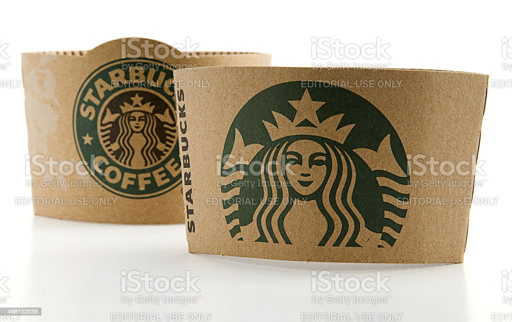New and Old Logos of Starbucks royalty-free stock photo