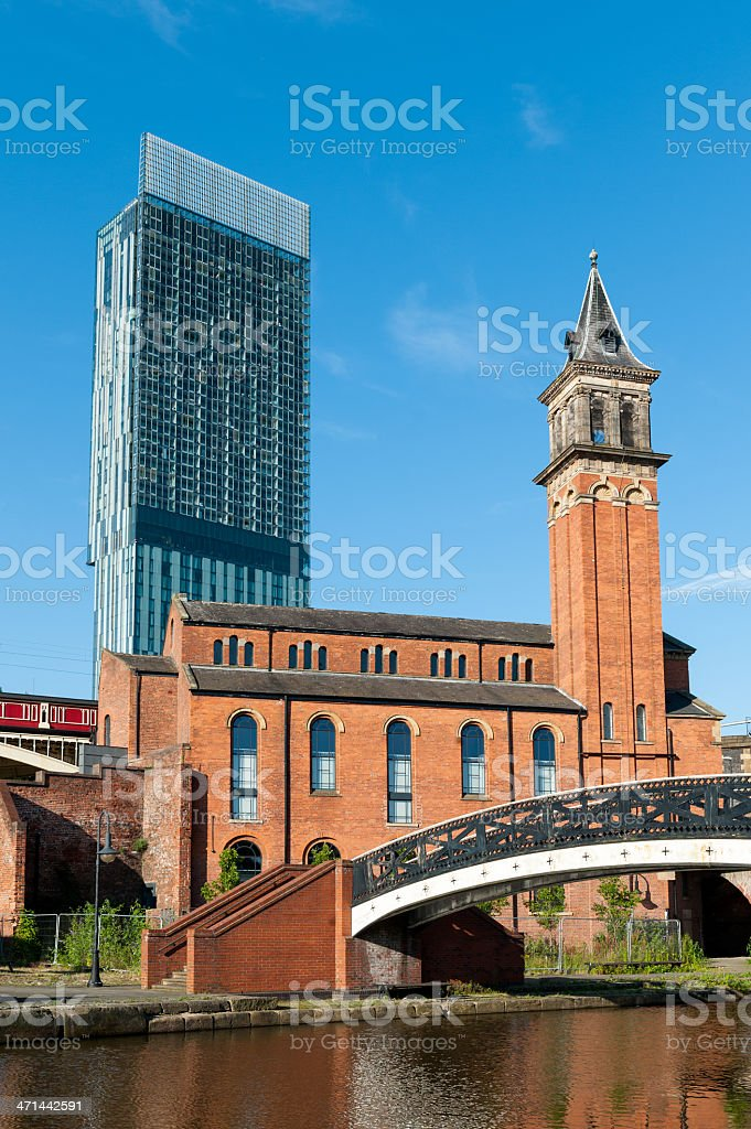 New and Old Manchester Architecture stock photo