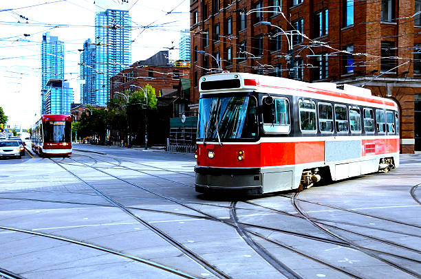 new and old streetcar stock photo