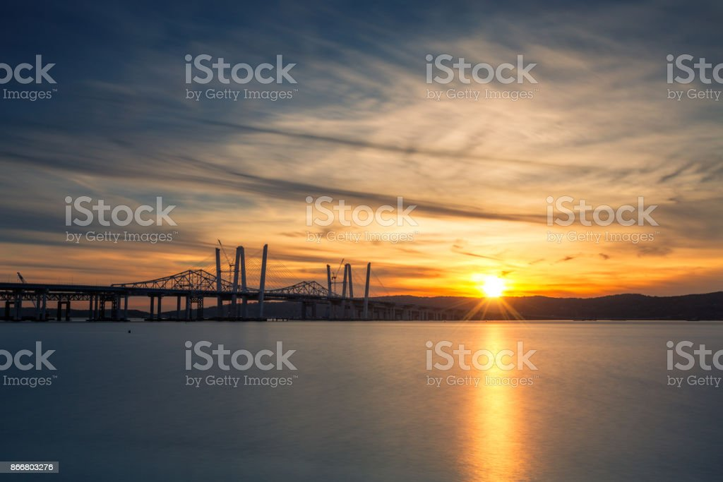 New and Old Tappan Zee Bridges stock photo