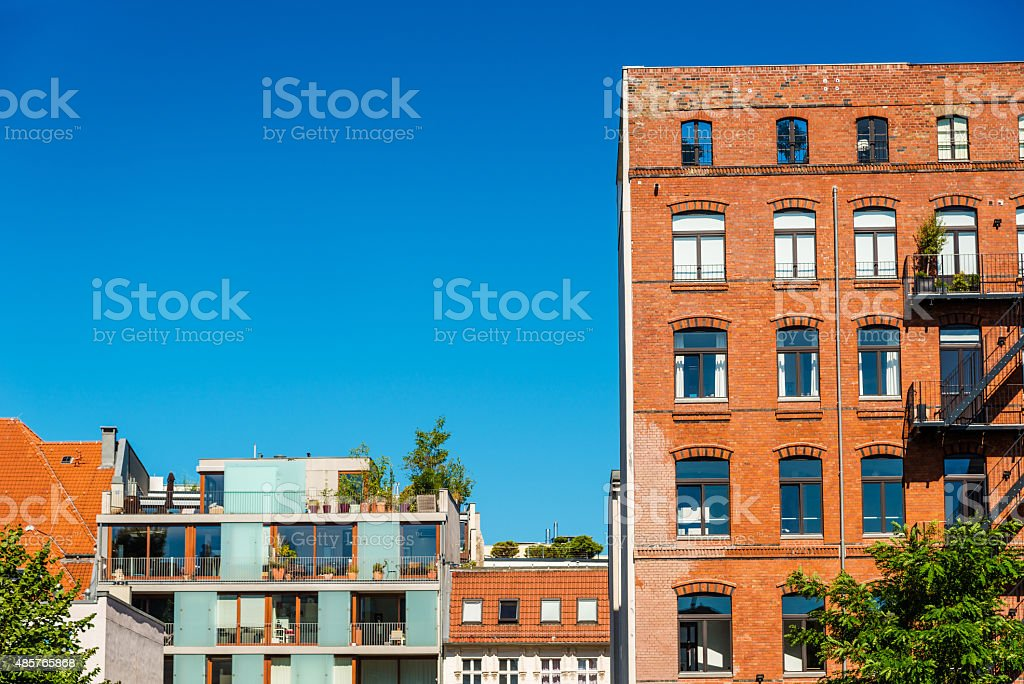 new and old townhouses in Berlin, Prenzlauer Berg stock photo