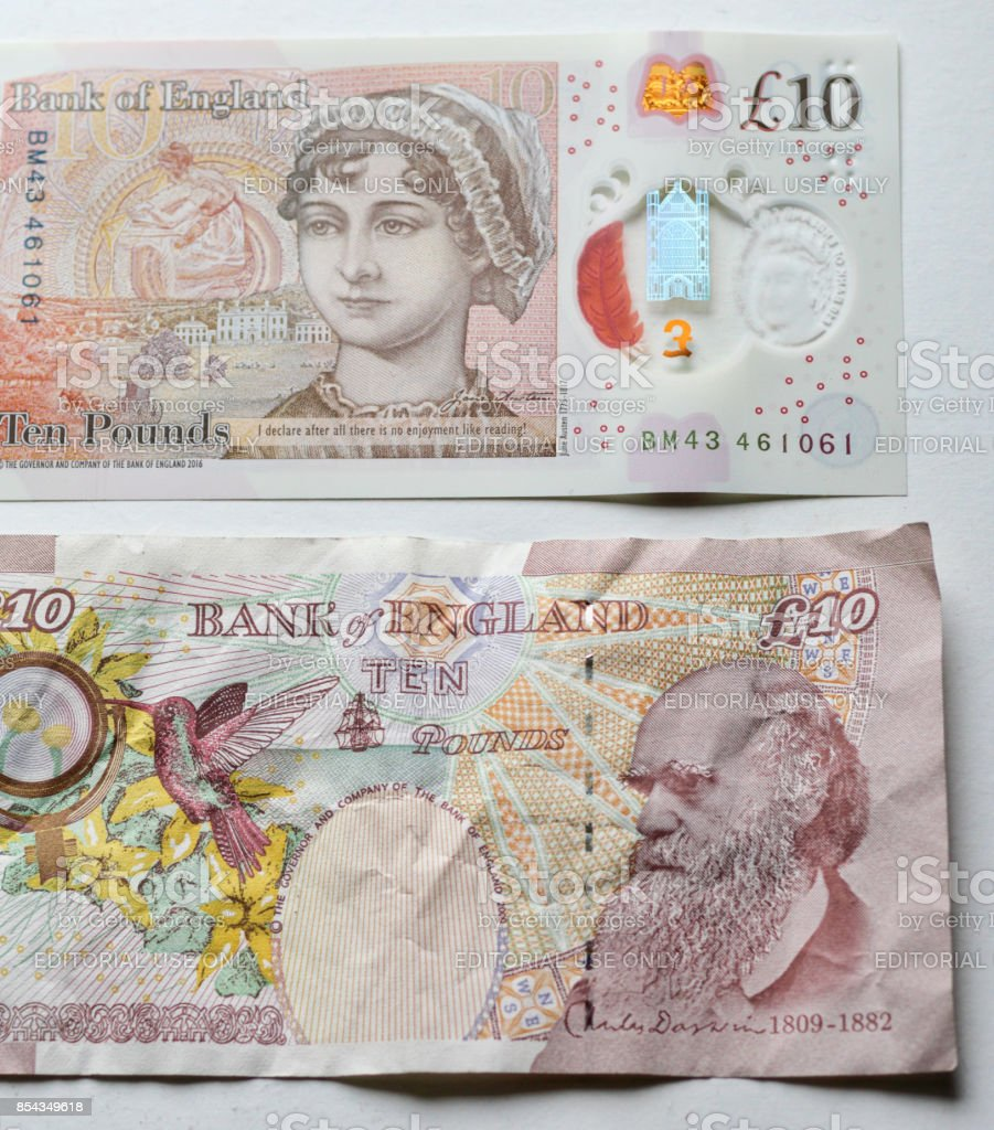 New and old UK ten pound notes stock photo