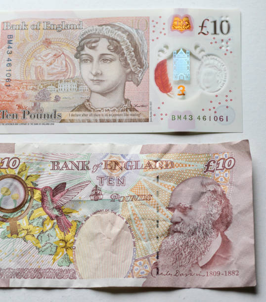 New and old UK ten pound notes The new, smaller UK £10 (ten pound) note has a fully transparent feature. On its reverse side it shows the suthor Jane Austen, her signature, and a  quotation