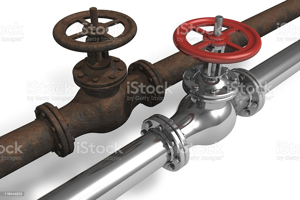 New and rusty pipeline royalty-free stock photo
