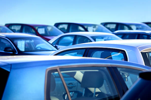 New and used cars close up with shallow depth of field of brand new cars salé morocco stock pictures, royalty-free photos & images
