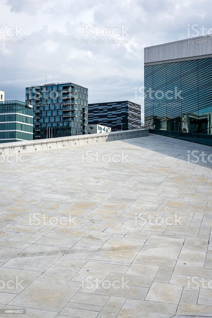 New apartment blocks  'Barcode buildings' in Oslo stock photo